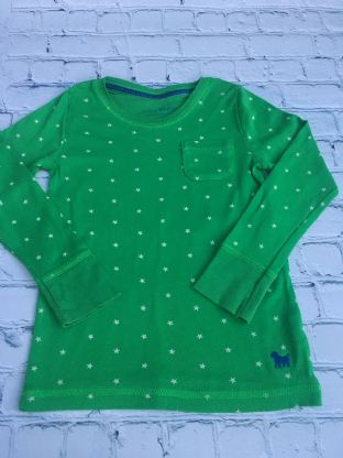 Mini Boden green long sleeved top with white stars age 5-6